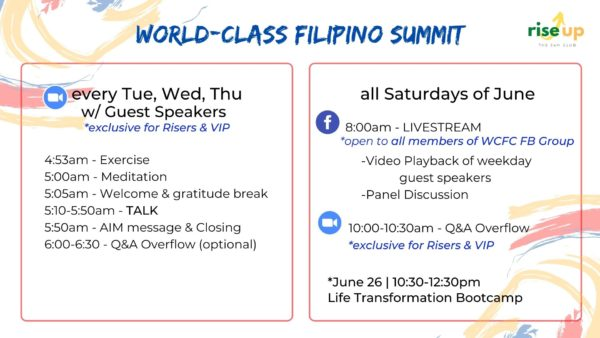 WCFS WEEKLY LEARNING EVENTS